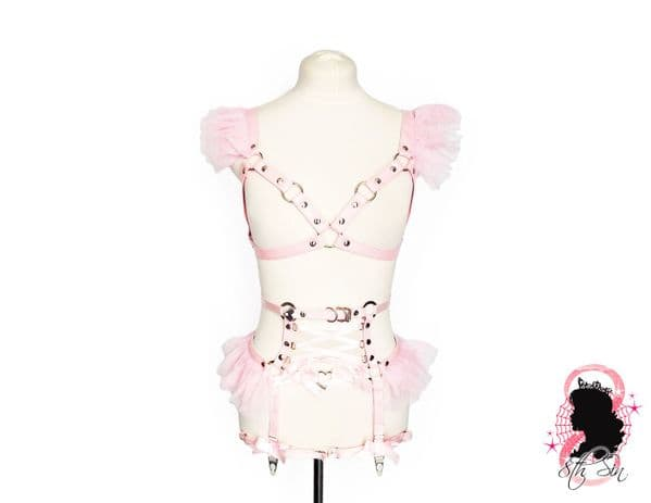 Pink Faux Leather Corset Harness Set